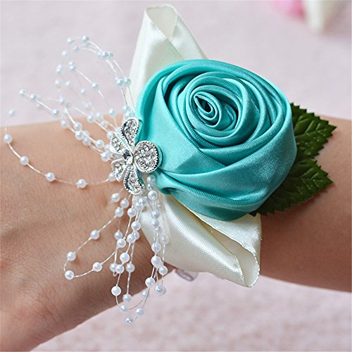 Jackcsale Wedding Bridal Corsage Bridesmaid Wrist Flower Corsage Flowers for Wedding Light Blue Pack of 2