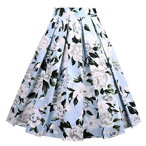 Girstunm Women's Pleated Vintage Skirt Floral Print A-line Midi Skirts with Pockets Blue-White Flowers S