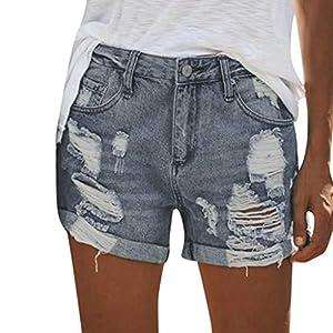 Women's Denim Shorts, Mid Rise Jean Shorts Frayed Hem Ripped Shorts w...