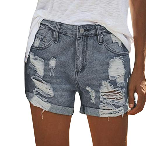 Damen Destroyed Jenasshorts, LeeMon Denim Shorts Mode Ripped High Waist Hot Pants Lochjeans Vintage Baggy Basic Kurz Jeans Hose Kurzschlüsse