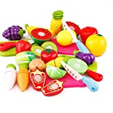 PLUSPOINT Plastic Fruits N Veggies Exclusive Collection of Realistic Sliceable Fruits, Vegetables, Fast Food, Bakery Products, Cake, Doughnuts for Girls and Boys (Multicolour), 14pc