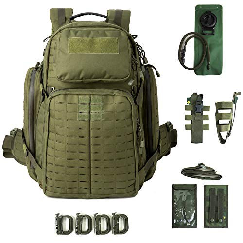 AKmax.cn Military Medium Rucksack MOLLE Army Tactical Assault Backpack, 3 Day Pack for Camping, Hiking, Bug Out, Olive Drab