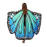 QinMM Frauen Schmetterlingsflügel Schal Schals, Damen Nymph Pixie Poncho Kostümzubehör (Blau)