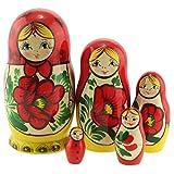 Azhna Lot de 5 poupées russes en bois peintes à la main - 10,5 cm - Souvenir - Matriochka