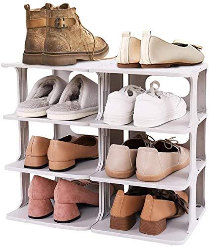 A-Generic Organizador de Shoemaker de 4 Niveles, Organizador de Almacenamiento de Zapatos de plástico con combinación Libre, Organizador de Zapatos DIY para 8 Pares de Zapatos,