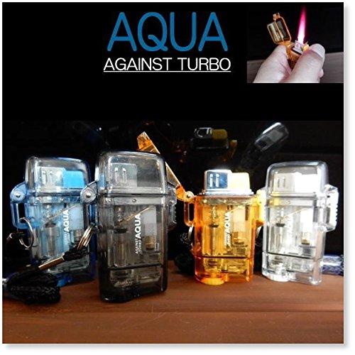 ツインライト AQUA TURBO LIGHTER ターボライター AGAINST TURBO 風・水に強い ブラック