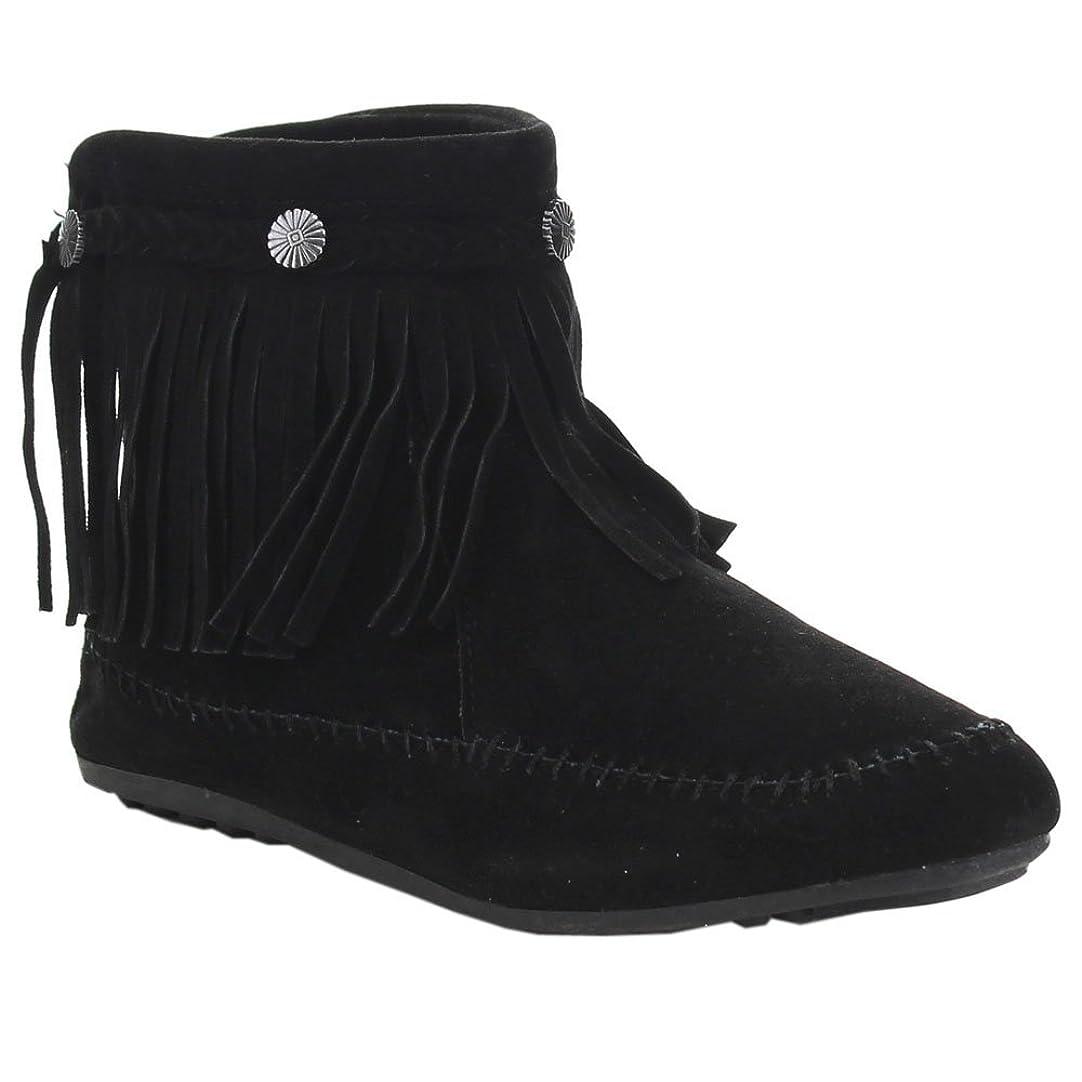 いとこ方程式悲惨な[Nature Breeze] cherokee-01フリンジモカシンブーティー* ZipスタッドフラットIndian Ankle Boot