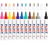 Paint Markers on Almost Anything Never Fade Quick Dry and Permanent, Attom Tech Art Bright and Vivid Assorted Oil-based Fine Tip Paint Pen Set, Strong Covering Force [12 Color]