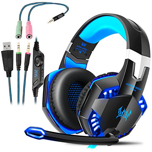 PREUP Gaming Headset PS4 G2000 mit Mikrofon, Audiokabel, Stereo-Audio-Bass und LED-Taschenlampe PC Gaming Headset für PS4/PC/Xbox Ones (Blau)