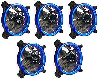 APEVIA 512L-CBL 120mm Silent Dual Rings Blue LED Fan with 32 x LEDs & 8 x Anti-Vibration Rubber Pads (5 Pk)