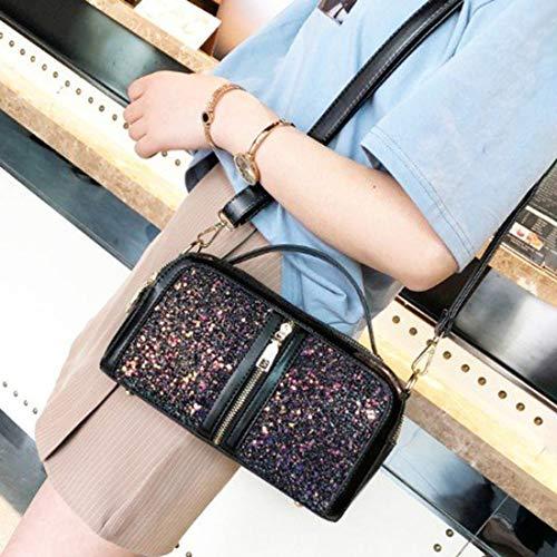 MFENG STORE Sequin Casual Shoulder Bag Ladies Handbag Messenger Bag (Black) (Color : Black)