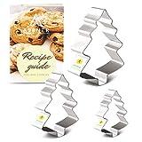 Asener Christmas Cookie Cutter Set [3 piezas] – Acero bañado en estaño, perfectamente diseñado, formas de árbol de Navidad, cortador de galletas duradero con libro de recetas