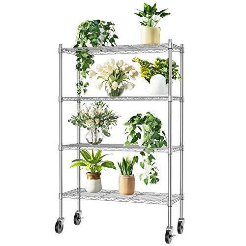Auslar Lagerregal mit Rollen Metall Regalsystem 4 Regalböden bis zu 159 kg pro Metallböden 91 x 35,5 x 146 cm Küchenregal Regal für Küche Büro Garage usw.