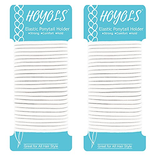 Hoyols Ponytail Holders, No Metal Braided Hair Bands Elastic Thick Tie for Women Thick Fine Curly Hair gomas para el pelo 50 Court 4mm (White)