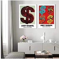 ドル記号HDアンディウォーホル画像北欧ポスター壁アートプリント展キャンバス絵画装飾写真リビングルーム-50x70cmx2フレームなし