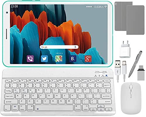 DUODUOGO Tablette avec Clavier 8 Pouces HD IPS, Android 10.0 Quad Core, 3Go RAM 32Go ROM 128 Go Extensible, OTG Tablette PC Portable Pas Cher, Bluetooth, WiFi (Vert)