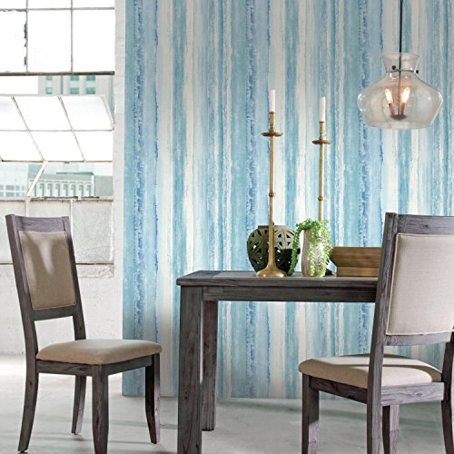 RoomMates Blue Watercolor Stripe Peel and Stick Wallpaper