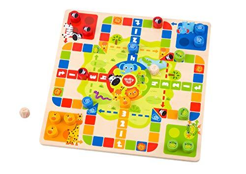 Tooky Toy Tabla de juegos 2 en 1 para niños – Cubos / serpientes y escaleras de madera – Colorido juego de tablero de juguete para niños – Ajedrez volador / serpientes y escaleras de madera