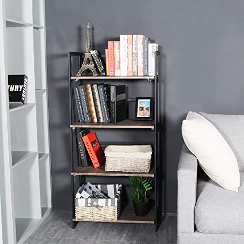 Coavas-Folding-Bookshelf-Home-Office-Industrial-Bookcase-No-Assembly-Storage-Shelves-Vintage-4-Tiers-Flower-Stand-Rustic-Metal-Book-Rack-Organizer-236-X-118-X-494-Inches