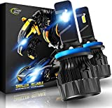 Cougar Motor H11/H8/H9 LED Bulb, 12000LM 6500K, X-Small All-in-One Conversion Kit - Cool White Halogen Replacement - Pack of 2