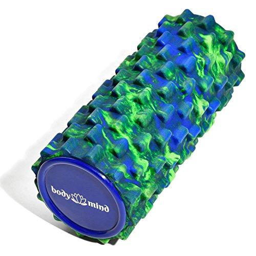 Body & Mind Faszienrolle Massage-Rolle Fitnessrolle Sportrolle Therapierolle für effektive Selbstmassage und Faszien-Training; 33 x 14,5 cm; Grün-Blau