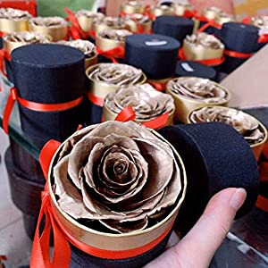 forever rose real preserved rose in gift box – beautiful rose valentines day gift romantic (gold) silk flower arrangements