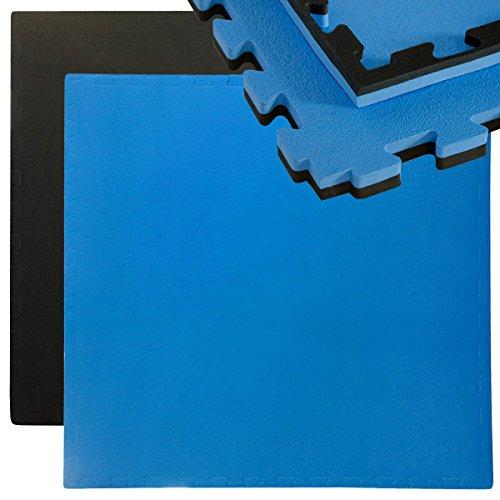 EYEPOWER 25mm Dicke Bodenschutz-Matte 90x90cm Trainingsmatte Puzzlematte erweiterbare Fitnessmatte inkl Rand Schwarz Blau