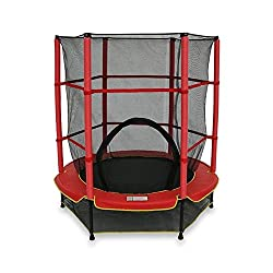 We R Sports Kids Junior Trampoline With Safety Net Enclosure Surrounded 55 Inches My First Trampoline Toddler Trampoline (Red)