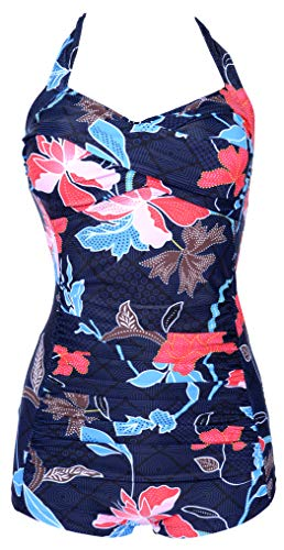 ebuddy Elegant Inspired Boy-Leg One Piece Ruched Monokinis Swimsuit,Flowered-XL
