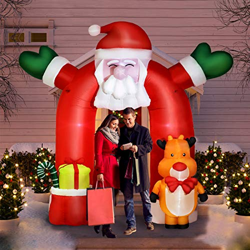 Joyjoz 10.7Ft Inflatable Christmas Decoration, Santa Outdoor Decorations with Elk Christmas Blow Up Yard Decorations and Colorful Rotating LED Lights for Garden Yard Lawns Decoration