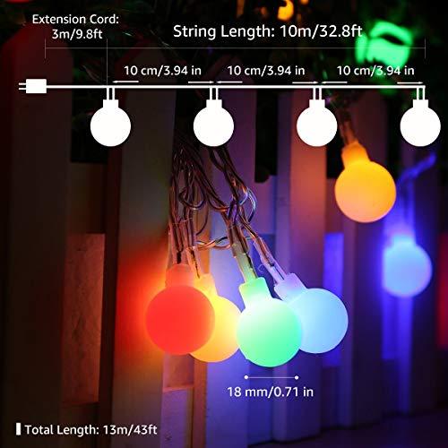 Lepro 100er LED Kugel Lichterkette Bunt 13M, Partybeleuchtung Außen mit Stecker, 8 Modi und Merk Funktion, ideale Partylichterkette für Innen, Hochzeit, Party Deko usw. Mehrfarbig - 2