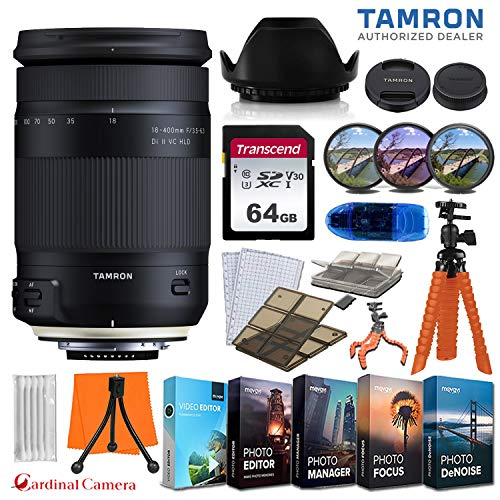 Tamron 18-400mm f/3.5-6.3 Di II VC HLD Lens for Nikon F Mount Cameras (6-Year Tamron Warranty) w/ 64GB Memory Card + Photo/Video Editing Software + Spider Flex Tripod & Basic Travel Accessory Bundle