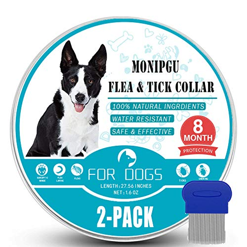 MONIPGU Flea and Tick Collar for Dogs,2 Pack,Natural Flea and Tick Prevention for Dogs,8 Months Protection,One Size Fits All Dogs,Adjustable & Waterproof,Include Flea Comb