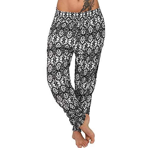 Pantalones De Verano para Mujer Casual De Gran TamañO 5XL Correa De ImpresióN Digital Cintura EláStica con CordóN Suelto Pantalones Largos De Moda De 8 Colores