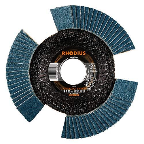 RHODIUS INOX Fächerschleifscheibe VISION PRO Made in Germany Ø 115 mm K80 für Winkelschleifer 5 Stück