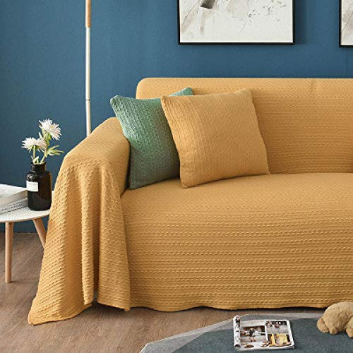 B/H Lavable/Antiácaros Funda de sofá,Toalla de sofá de Color sólido con Hilo de algodón, Funda de sofá de Tela Completa-Yellow_180 * 340cm,Sillón Elastano Fundas de Sofá