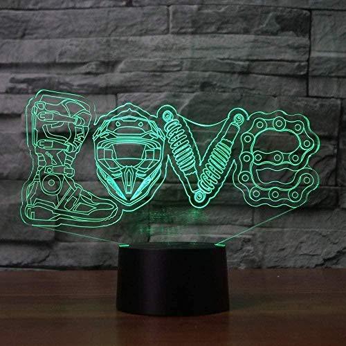 YOUPING Creativo 3D LED 7 colores que cambian visuales mecánicos de amor modelado de la noche de la lámpara de escritorio de la decoración del hogar de los ventiladores de la motocicleta