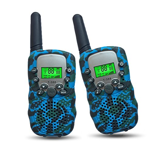 Kids Camping Gear Joyfun Walkie Talkies for Kids Long Range Two Way T-388 Toys for Boys 5-10 Year Old Teen Boys Birthday Gifts Blue - 1 Pair