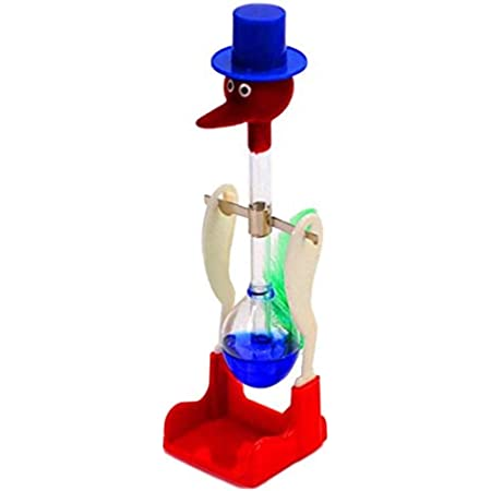 Yデパートセンター55® 水飲み鳥 平和鳥 ドリンキングバード ハッピーバード 昭和 おもちゃ 知育玩具 科学玩具 DRINKING LUCKY (青)
