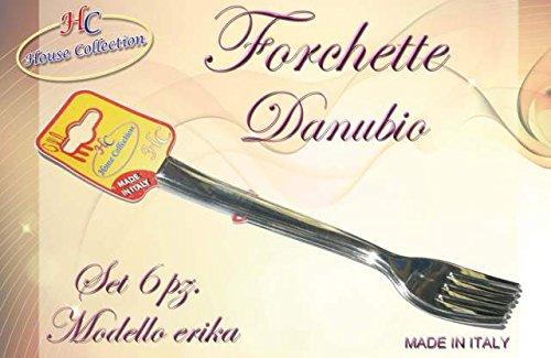 Set 6 forchette da tavola,acciaio inox 18/c, Danubio, argento, 20 cm