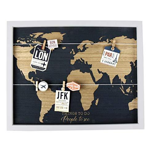 Memoboard, ungewöhnlicher Bilderrahmen für 8 Fotos. die mit Klammern an zwei Kordeln aufgehängt werden, Holz, Weltkarte als Hintergrund, Maße: 40 x 50 cm, z.B. für die schönsten Urlaubsbilder