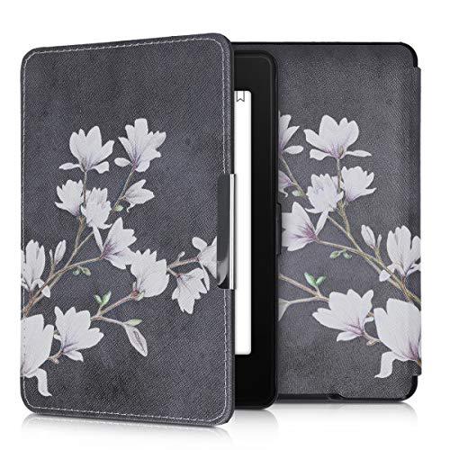 kwmobile Hülle kompatibel mit Amazon Kindle Paperwhite - Kunstleder eReader Schutzhülle Cover Case (für Modelle bis 2017) - Magnolien Taupe Weiß Dunkelgrau