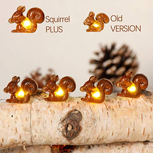 Christmas Squirrel Plus String Lights, 10ft Silver wire 30 Big Icon Leds Battery Powered with Remote Control for Indoor Outdoor Fall Party, Thanksgiving Holiday, Home Fairy Decorations Lighting