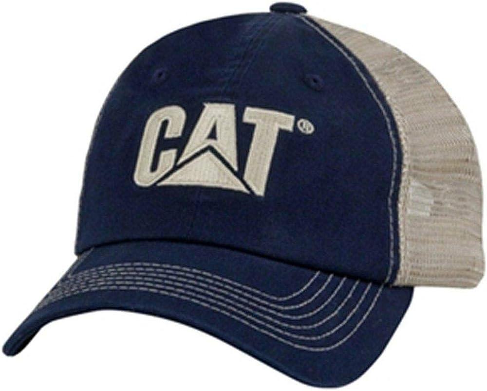 Caterpillar CAT Equipment Navy Blue & Khaki Tan Twill and Nylon Mesh Cap/Hat