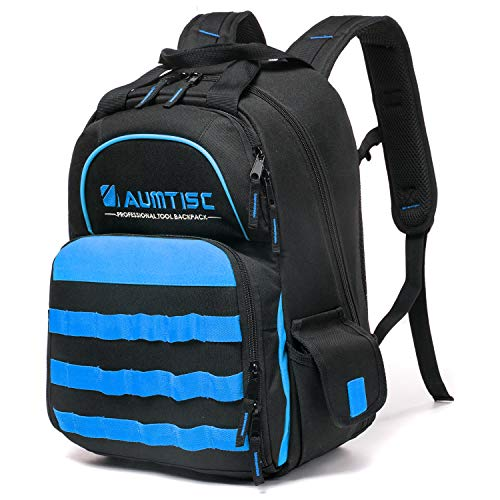 Tool Backpack Heavy Duty Jobsite Backpack Tools Bag with Multi-Use Pocket Industrial & Construction Work Backpack Blue