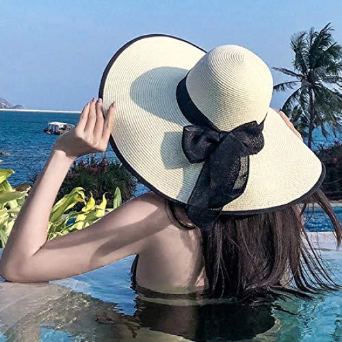 DöllSonnenhut Hut Frauen Sommerhut Feste Breite Krempe Sonnenhut Damen Floppy Beach Cap Hut Packbare Weibliche Strohhut Ivoryblacktrim