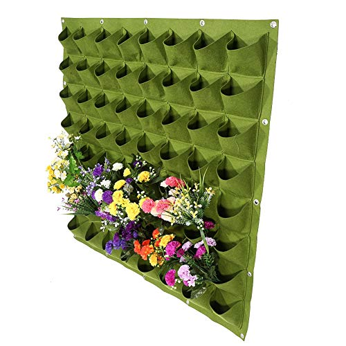 Bolsas para plantas, 64 bolsillos, para plantas, de fieltro, vertical, maceta, bolsa...