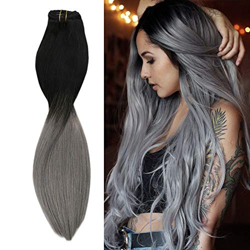 Sunny 24Pouces/60cm Ombre Extension a Clip Naturel Remy Cheveux Naturels Lisse 7pcs/120g 100% Vrai Cheveux Extension Naturel a Clips Tie and Dye Noir Ombre Bleu Gris