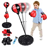 Punching Bag For Kids Boxing Set ,Punching Bag with Stand Adjustable Height,Including 2 Pairs of Gloves ,Hand Pump, Kids Boxing Gloves and Punching Bag for 3-10 Years Old,Good Gift for Boys & Girls