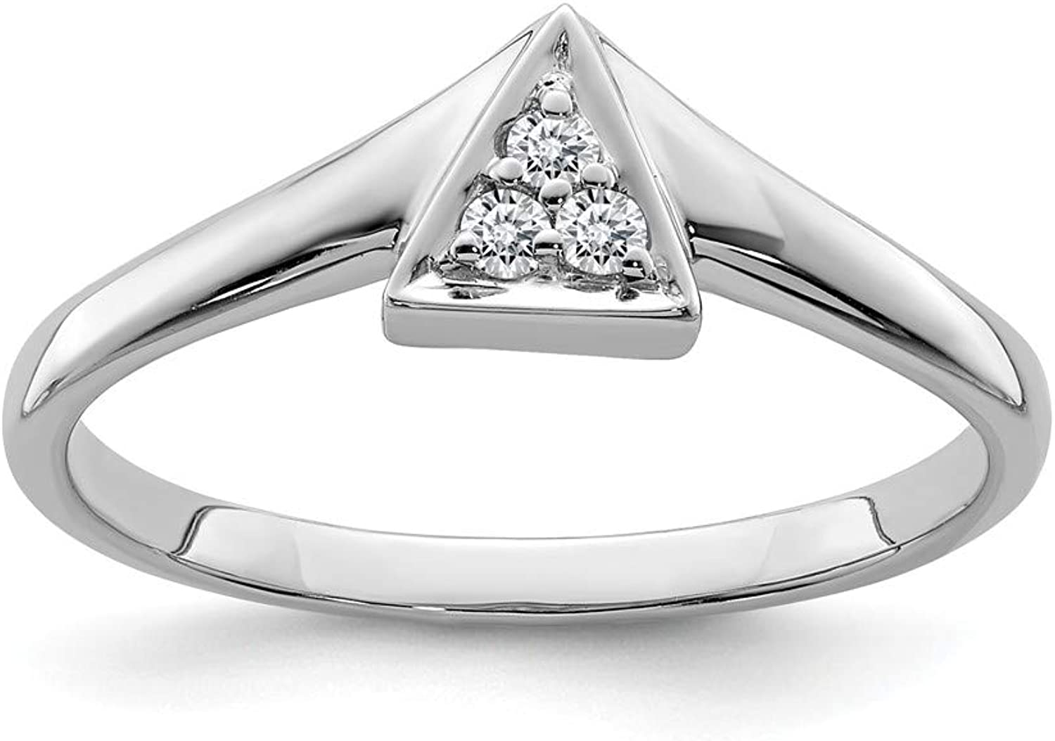 Beautiful Sterling silver 925 sterling Sterling Silver Rhodium Plated Diamond Triangle Ring